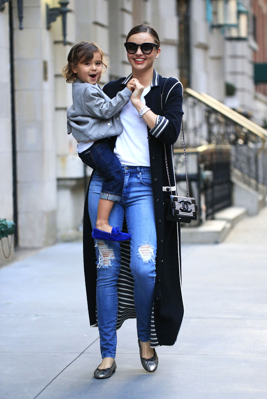 Miranda Kerr steps out with son Flynn Bloom for dinner before her birthday in New York City
